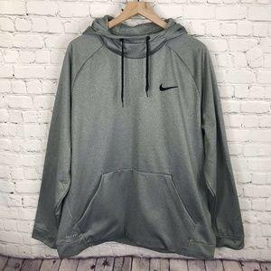 Mens Nike Logo Gray Hoodie Pullover W/ Drawstring